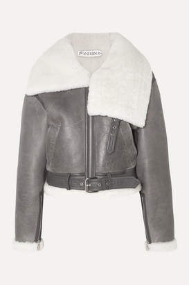 J.W.Anderson Cropped Shearling Jacket - Gray