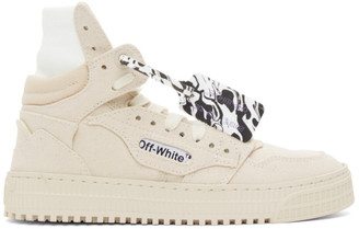 Off-White Beige Canvas Off Court 3.0 High-Top Sneakers