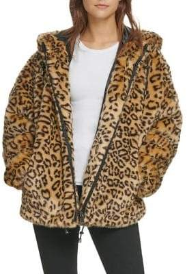 DKNY Leopard Printed Faux-Fur Hooded Jacket