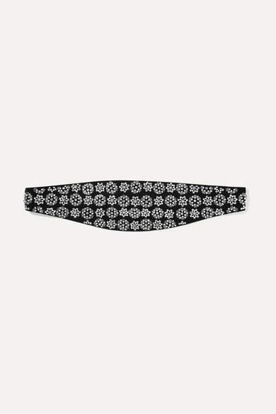 Saint Laurent Embellished Silk Waist Belt - Black