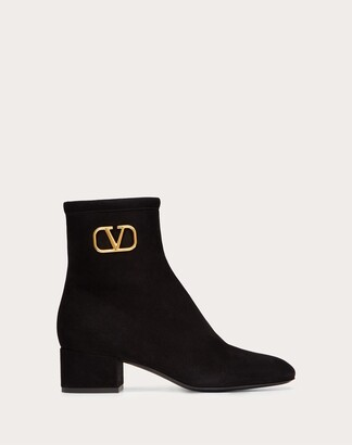 Valentino Vlogo Signature Suede Ankle Boot 45mm / 1.8 In. Women Black Lambskin 100% 35