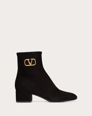 Valentino Vlogo Suede Ankle Boot 45 Mm Women Black Lambskin 100% 35