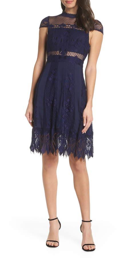 Foxiedox Bravo Zulu Lace Fit & Flare Cocktail Dress