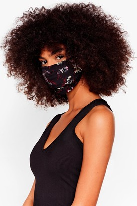 Nasty Gal Womens What Do You Grow Floral Fashion Face Mask - Black - ONE SIZE