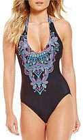 Kenneth Cole Reaction Dream Weaver Plunge Halter One-Piece