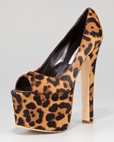 Brian Atwood Alesha Leopard-Print Calf Hair Platform Pump