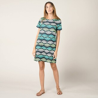 Molly Bracken Printed Crew Neck Dress with Short Sleeves