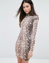Warehouse Animal Print Bodycon Dress