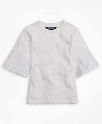 Brooks Brothers Girls Cotton Eyelet Ruffle T-Shirt