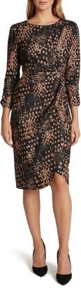 Tahari Print Knotted Dress