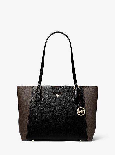 MICHAEL Michael Kors MK Mae Medium Pebbled Leather and Logo Tote Bag - Brown/blk - Michael Kors