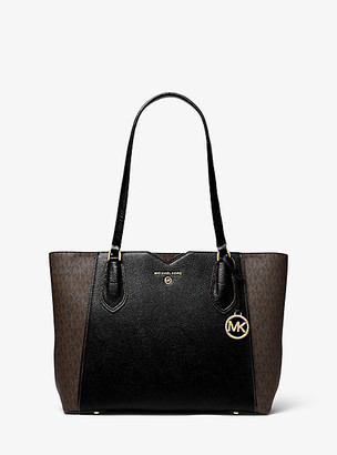 MICHAEL Michael Kors MK Mae Medium Pebbled Leather and Logo Tote Bag - Brown/blk - Michael Kors