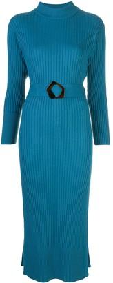 Nicholas Rib-Knit Belted Midi Dress