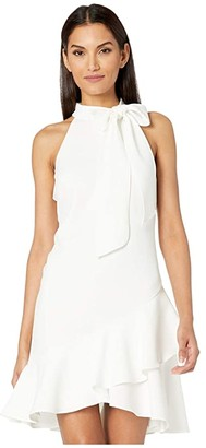 Vince Camuto Kors Crepe Bow Neck Shift with Ruffle Hem (Ivory) Women's Clothing