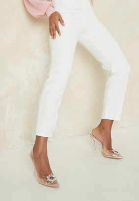 Missguided Silver Look Clear Pointed Toe Broach Front Heels