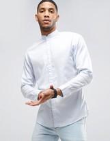 Selected Shirt with Grandad Collar in Slim Fit