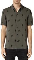 AllSaints Archo Palm Short Sleeve Slim Fit Button Down Shirt