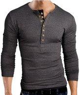 BOMOVO Mens Long Sleeve Shirts Henley Top Shirt Black Grey