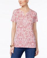 Karen Scott Petite Floral-Print Henley T-Shirt, Created for Macy's