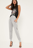 Missguided Grey Velvet Side Striped Joggers