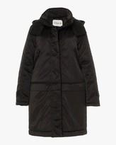 Black Convertible Satin Down Coat