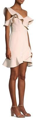 BCBGMAXAZRIA Asymmetric Ruffled Mini Dress