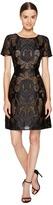 Marchesa Laser Cut Satin Short Sleeve Dress Women's Dress
