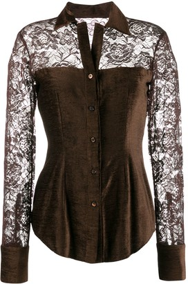 Romeo Gigli Pre-Owned 1990's Lace Panels Slim Shirt