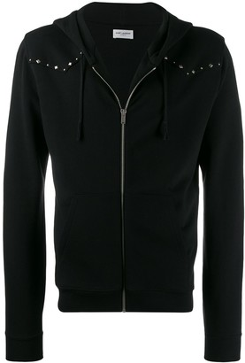 Saint Laurent Embellished Zip-Up Hoodie