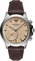 Emporio Armani Men's Connected Brown Leather Strap Hybrid Smart Watch 43mm