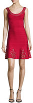 Herve Leger Grommet Scoop-Neck Ruffled Dress, Lipstick Red