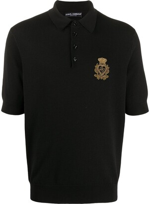 Dolce & Gabbana Embroidered Logo Knitted Polo Shirt