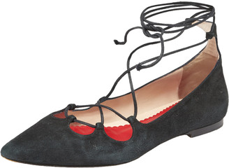 Carolina Herrera Black Suede Lace Up Ballet Flats Size 37