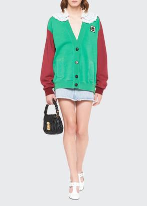 Miu Miu Lace-Collar Jersey Cardigan