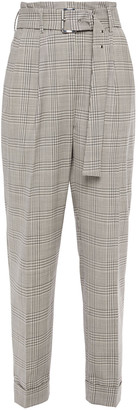 MICHAEL Michael Kors Belted Prince Of Wales Checked Wool-blend Tapered Pants