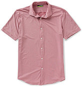Murano Performance Short-Sleeve Slim-Fit Spread-Collar Gingham Shirt