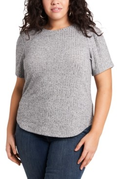 1 STATE Trendy Plus Size Metallic Ribbed Top