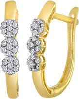 JCPenney FINE JEWELRY diamond blossom 1/10 CT. T.W. Diamond Cluster 10K Yellow Gold Hoop Earrings