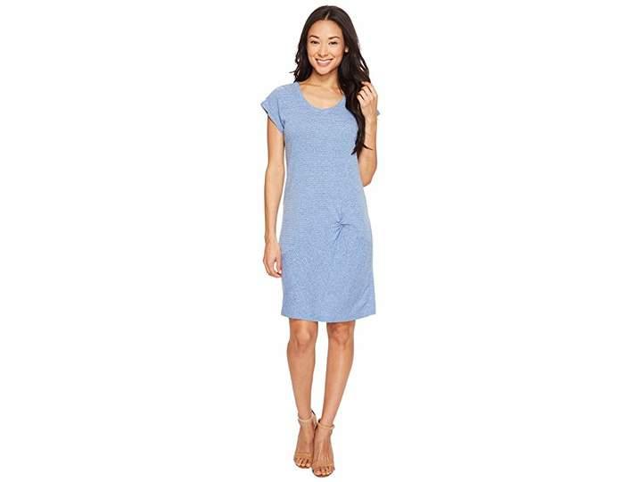 Mod-o-doc Pinstripe Jersey Asymmetrical Twist Front T-Shirt Dress Women's Dress
