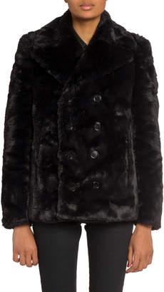 Saint Laurent Faux-Fur Double-Breasted Coat