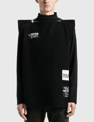 Raf Simons Zipped Punk Top In Structured Fleece Sweater