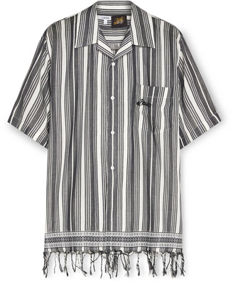 Loewe + Paula's Ibiza Fringed Logo-Embroidered Striped Cotton Shirt