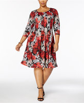 NY Collection Petite Plus Size Printed-Knit A-Line Dress