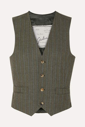 Giuliva Heritage Collection Andrea Pinstriped Wool Vest - Dark green