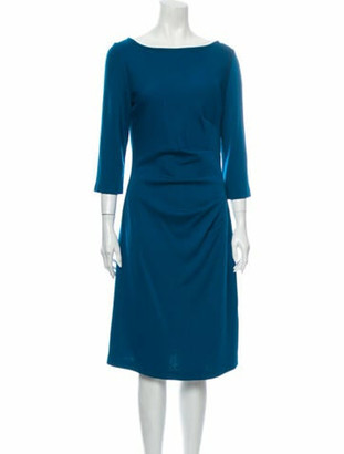 St. John Bateau Neckline Midi Length Dress Blue