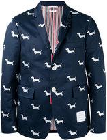 Thom Browne dog print blazer - men - Cotton/Cupro - 0