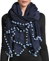 Eileen Fisher Pompom-Trim Cotton/Silk Scarf, Midnight