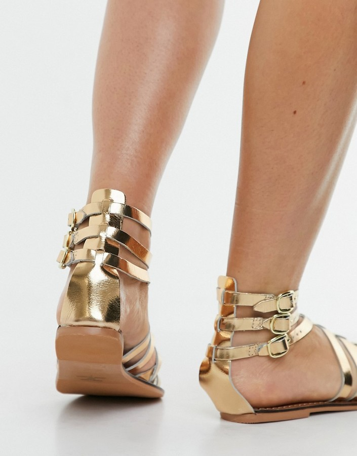 Thumbnail for your product : New Look leather strappy gladiator sandals in gold