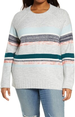 Caslon Cozy Mix Stripe Crewneck Sweater