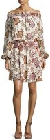 Tory Burch Indie Smocked Off-the-Shoulder Floral Silk Dress, Ivory